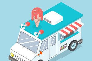 Flat 3d isometric ice cream truck