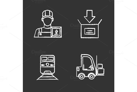 Cargo Shipping Chalk Icons Set