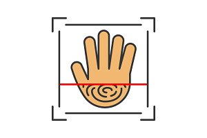 Biometric hand scanning color icon