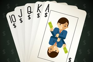 Business royal flush playing cards