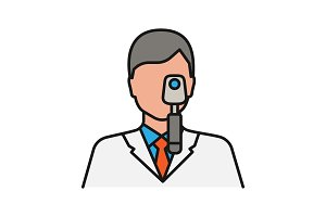 Doctor with ophthalmoscope color icon