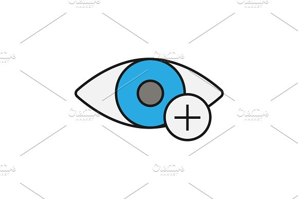 Human Eye With Plus Sign Color Icon