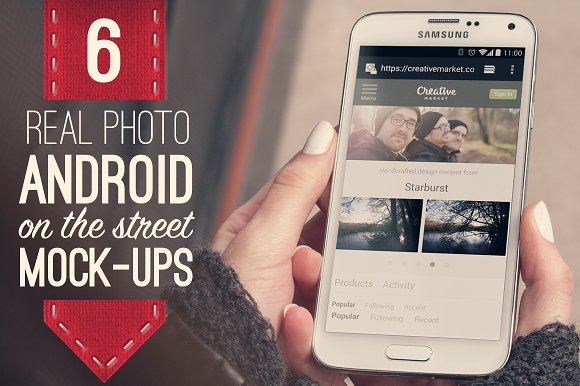 Free 6 Real Photo Android Street Mockups