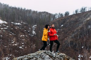 Couple in love in the mountains