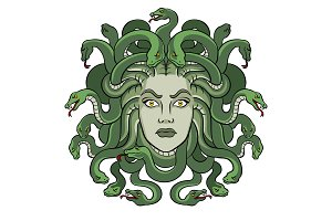 Medusa greek myth creature pop art vector