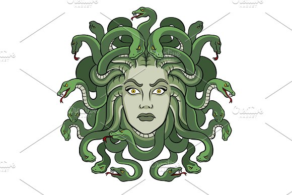 Medusa Greek Myth Creature Pop Art Vector