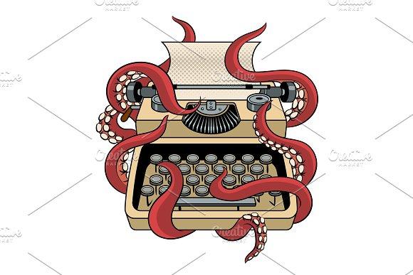 Typewriter With Octopus Tentacles Pop Art Vector