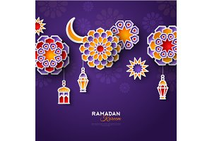 Ramadan flowers and lamps