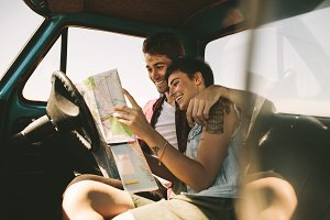 Young travellers on a road trip
