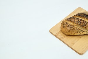 bread on sackcloth and rustic