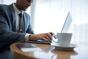 Businessman using laptop computer
