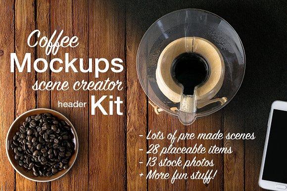 Free Coffee Mockups Scene Creator +