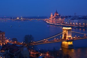 Budapest city night scene.