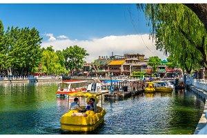 Boats on Qianhai lake in Shichahai scenic area of Beijing