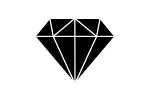 Diamond Icon Vector. black on white
