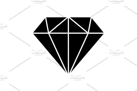 Diamond Icon Vector Black On White