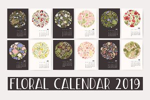 Floral wall calendar 2018, 2019