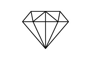 Diamond Icon line Vector. black