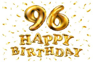 happy birthday 96 balloons gold