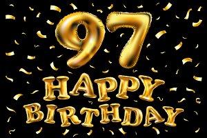 happy birthday 97 balloons gold