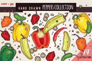 Hand drawn peppers collection