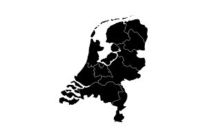 Vector map netherland country black