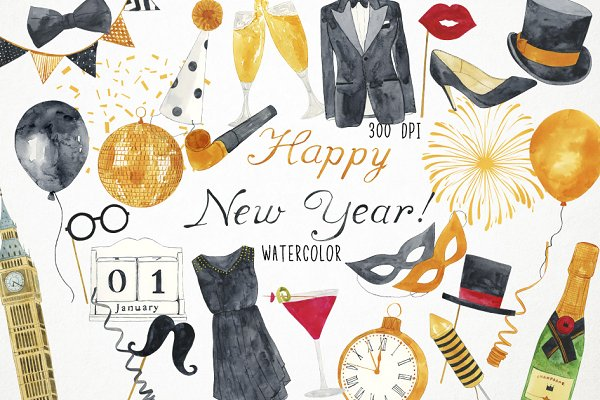 happy new year clipart pre designed photoshop graphics creative market happy new year clipart
