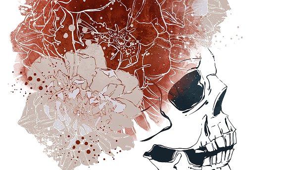 Skull In A Wreath Of Flowers JPEG