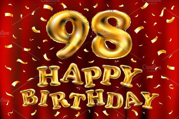 Happy Birthday 98 Balloons Gold