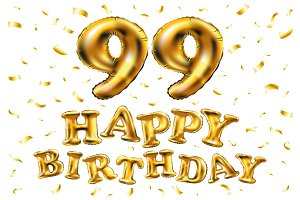 happy birthday 99 balloons gold