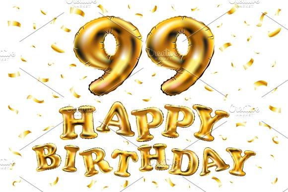Happy Birthday 99 Balloons Gold
