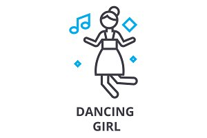 dancing girl thin line icon, sign, symbol, illustation, linear concept, vector