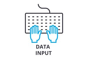 data input thin line icon, sign, symbol, illustation, linear concept, vector