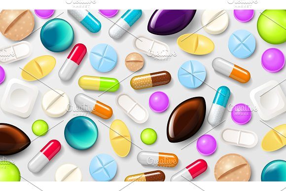 Pills background. Vitamin tablets for good health and antibiotic medications. Poster banner for web site. Pharmacy, painkiller capsules and medical drug.