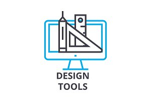 design tools thin line icon, sign, symbol, illustation, linear concept, vector