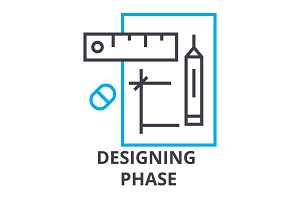 designing phase thin line icon, sign, symbol, illustation, linear concept, vector