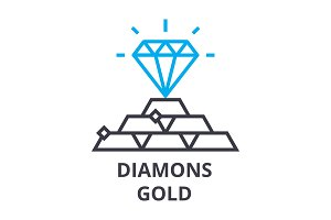 diamonds, gold thin line icon, sign, symbol, illustation, linear concept, vector