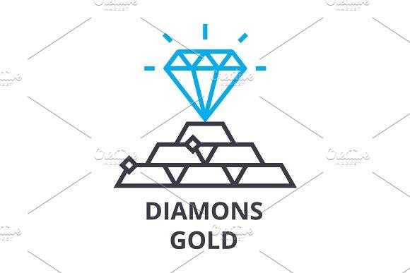 Diamonds Gold Thin Line Icon Sign Symbol Illustation Linear Concept Vector
