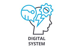 digital system thin line icon, sign, symbol, illustation, linear concept, vector
