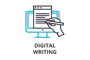 digital writing thin line icon, sign, symbol, illustation, linear concept, vector