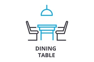 dining table thin line icon, sign, symbol, illustation, linear concept, vector