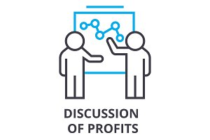 discussion of profits thin line icon, sign, symbol, illustation, linear concept, vector