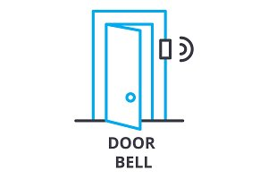 door bell thin line icon, sign, symbol, illustation, linear concept, vector