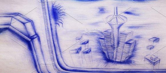 Retro School Drawing Of Futuristic City On Vintage Card