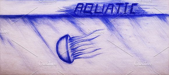 Retro School Drawing Of Jellyfish On Vintage Card