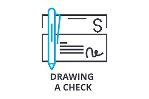 drawing a check thin line icon, sign, symbol, illustation, linear concept, vector