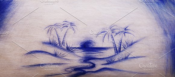 Retro School Drawing Of Jungle River On Vintage Card