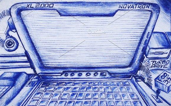 Retro School Drawing Of Hacker Laptop On Vintage Card