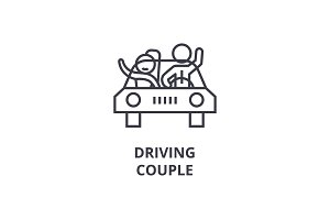 drawing couple thin line icon, sign, symbol, illustation, linear concept, vector