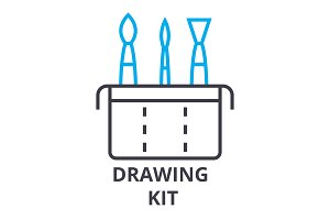 drawing kit thin line icon, sign, symbol, illustation, linear concept, vector